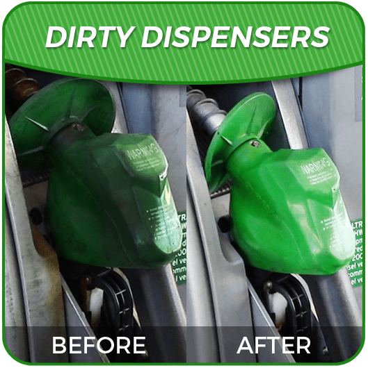 Dispenser before dirty and after clean