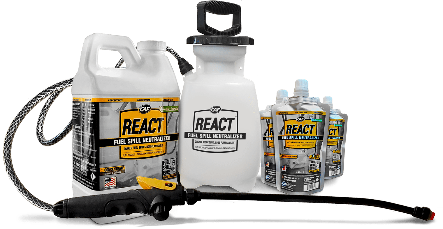 react sprayer and packaging fuel spill neutralizer