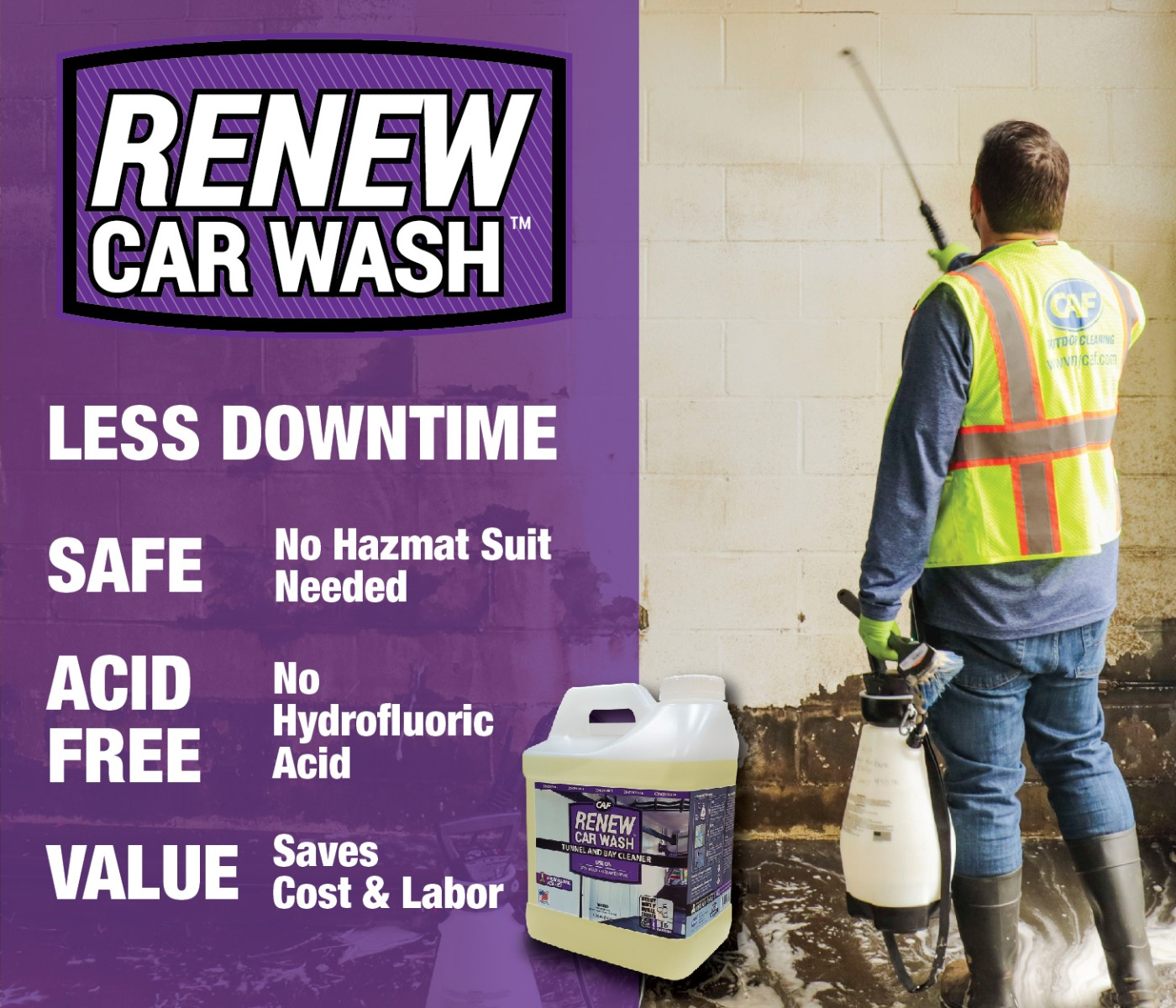 renew car wash tunnel and bay cleaner