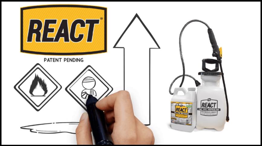 REACT whiteboard video fuel spill neutralizer