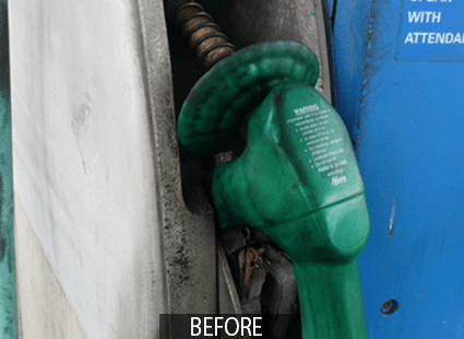 dirty gas pump before Otis multi-surface cleaner